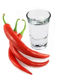 Перец красный и стакан водки