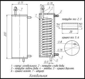 Схема прямоточного холодильника