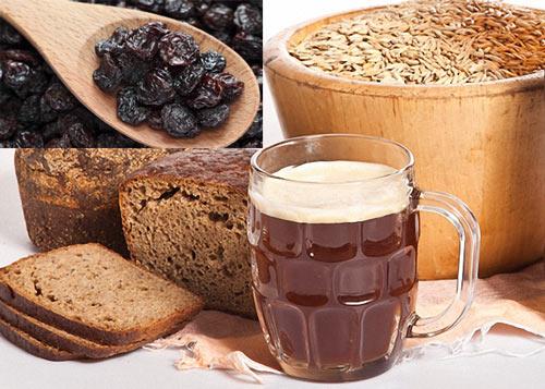 Кружка кваса, изюм, хлеб, солод
