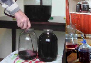 Процесс снятия с осадка вина.