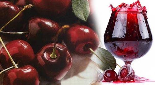 Спелая вишня и бокал с вином.