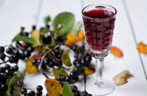 Вино в рюмке и рябина на столе
