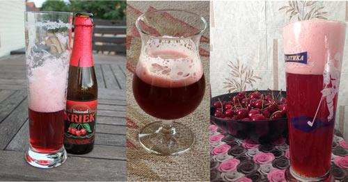 Вишня и бельгийское пиво в бокале