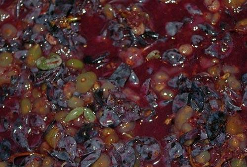 Порезанный виноград для чачи.