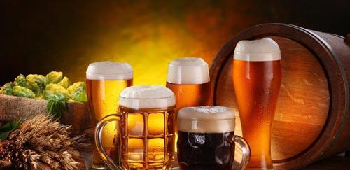 Пенное пиво в разных кружках.