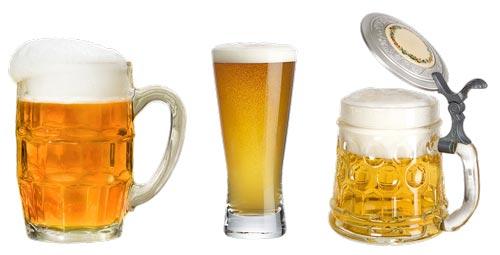 Пиво в разных стаканах.